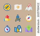 icons map with hand gesture ... | Shutterstock .eps vector #1025700412