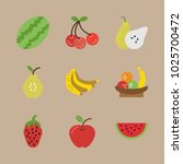 icons fruits with pear ... | Shutterstock .eps vector #1025700472