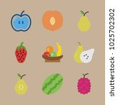 icons fruits with apple  fruits ... | Shutterstock .eps vector #1025702302