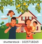 happy family having fun.... | Shutterstock .eps vector #1025718265