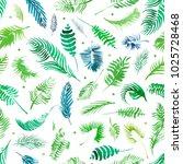 watercolor palm seamless... | Shutterstock . vector #1025728468