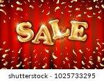 vector gold sale balloons... | Shutterstock .eps vector #1025733295