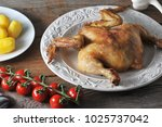 fried chicken and boiled...   Shutterstock . vector #1025737042