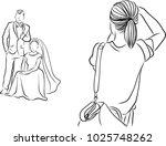 vector art drawing of the girl... | Shutterstock .eps vector #1025748262