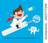 happy male dentist riding a... | Shutterstock .eps vector #1025777296