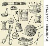 vector sewing equipment | Shutterstock .eps vector #102579638