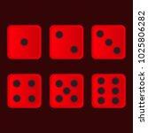 vector set of red casino dice... | Shutterstock .eps vector #1025806282