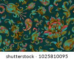 paisley watercolor floral... | Shutterstock . vector #1025810095