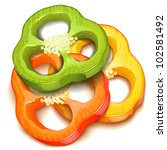 pepper slice isolated - stock vector