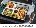 bento box in japanese restaurant | Shutterstock . vector #1025818762