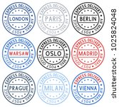 postmarks. collection of ink... | Shutterstock .eps vector #1025824048