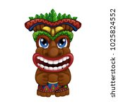 hawaiian totem with palm leaves.... | Shutterstock .eps vector #1025824552