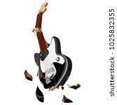 smashing guitar.broken guitar... | Shutterstock .eps vector #1025832355