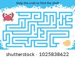 vector maze game. help the crab ... | Shutterstock .eps vector #1025838622