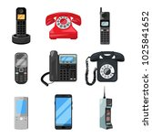 different telephones and...   Shutterstock . vector #1025841652