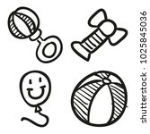 icons hand drawn toys. vector... | Shutterstock .eps vector #1025845036