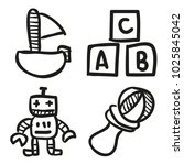 icons hand drawn toys. vector... | Shutterstock .eps vector #1025845042