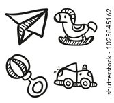 icons hand drawn toys. vector... | Shutterstock .eps vector #1025845162
