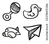 icons hand drawn toys. vector... | Shutterstock .eps vector #1025845186