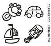 icons hand drawn toys. vector... | Shutterstock .eps vector #1025845672