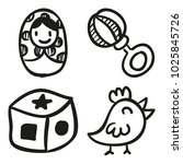 icons hand drawn toys. vector... | Shutterstock .eps vector #1025845726