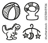icons hand drawn toys. vector... | Shutterstock .eps vector #1025845936
