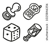 icons hand drawn toys. vector... | Shutterstock .eps vector #1025846356