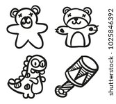 icons hand drawn toys. vector... | Shutterstock .eps vector #1025846392