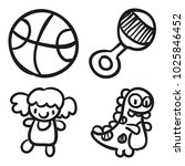 icons hand drawn toys. vector... | Shutterstock .eps vector #1025846452