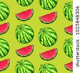 repeat pattern with watermelon... | Shutterstock .eps vector #1025848306