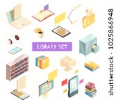 library isometric set with book ... | Shutterstock .eps vector #1025866948