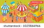 isometric amusement park circus ... | Shutterstock .eps vector #1025866966