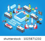welcome to spa center isometric ... | Shutterstock .eps vector #1025871232