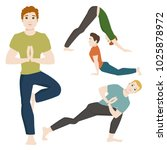 yoga positions mans characters... | Shutterstock .eps vector #1025878972