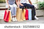 beautiful couple shopping in... | Shutterstock . vector #1025888152