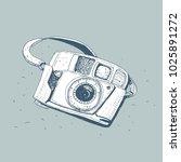 retro photo camera  vector... | Shutterstock .eps vector #1025891272