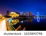 singapore skyline at the marina ... | Shutterstock . vector #1025893798