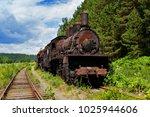 old rusty steam locomotive in... | Shutterstock . vector #1025944606