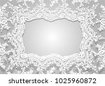 vector white lace frame template | Shutterstock .eps vector #1025960872