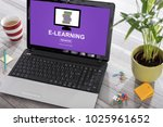 laptop on a desk with e... | Shutterstock . vector #1025961652