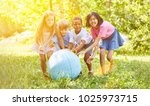 group of kids playing with... | Shutterstock . vector #1025973715