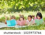 multicultural group of children ...   Shutterstock . vector #1025973766