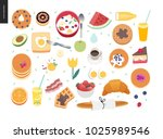 love  spring  breakfast   set... | Shutterstock .eps vector #1025989546