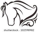 Stock vector silhouette black horse 102598982