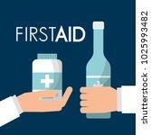 hands holding alcohol bottle... | Shutterstock .eps vector #1025993482