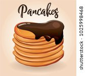 cartoon pancakes with chocolate ... | Shutterstock .eps vector #1025998468