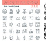set of modern outline icons of... | Shutterstock . vector #1026012898