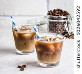 summer drink iced coffee in... | Shutterstock . vector #1026042592