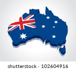 3d vector flag map of australia | Shutterstock .eps vector #102604916