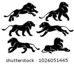 set of illustrations lions in...